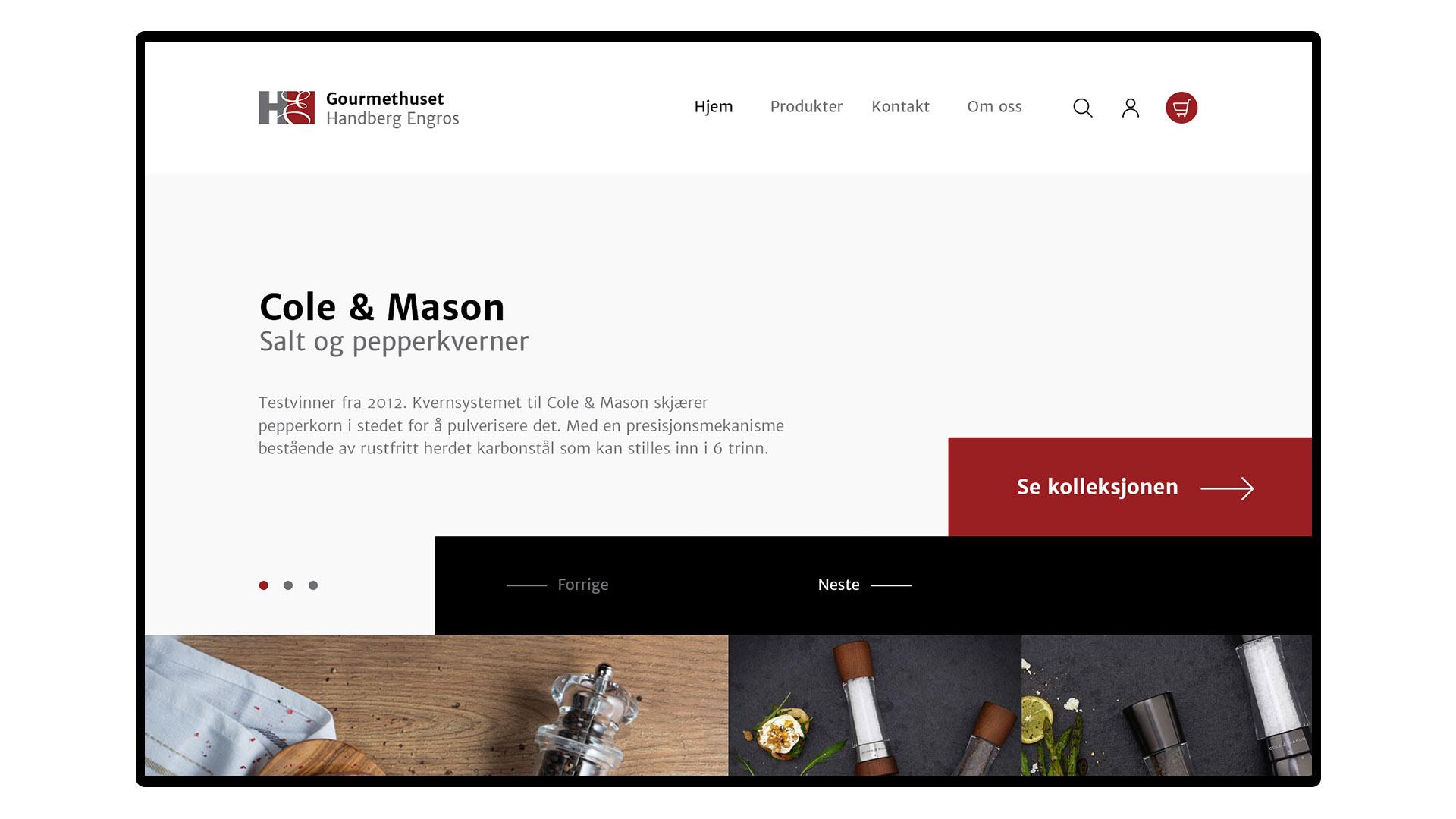 Nettbuikk for kjøkkenutstyr og gourmet
