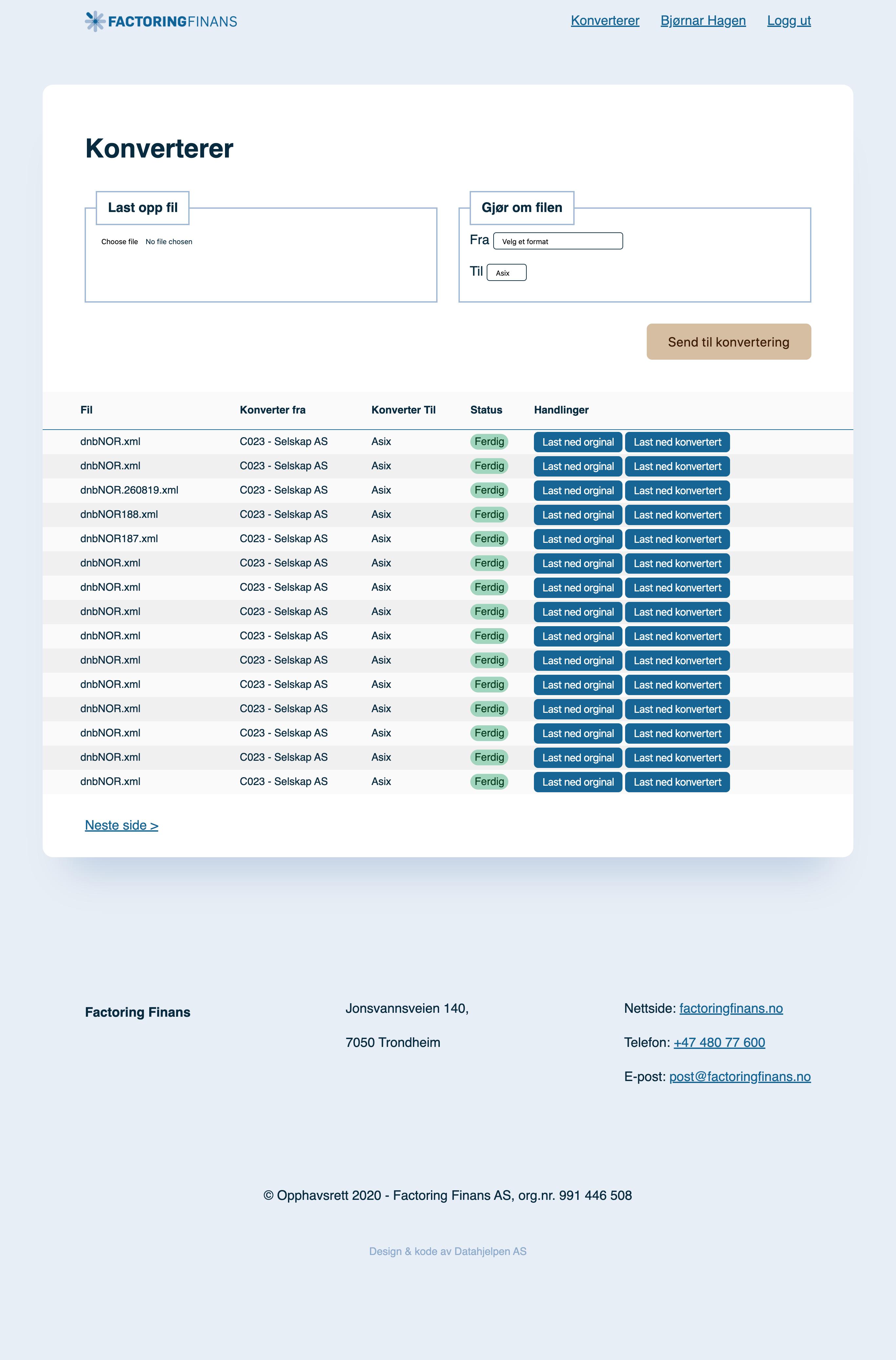 Webapplikasjon for Factoring Finans